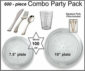 600 pc Party Pack premium Plastic Clear Plates Silver Cutlery Clear Tumblers