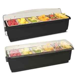 Chilled Roll Top Condiment Holder With 6 Pint Inserts Black With Clear Lid