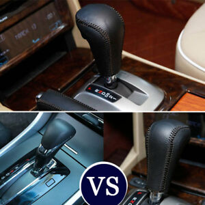 For Honda Accord 13 16 Gear Shift Knob Head Grip Cover Shell Trim Black Leather