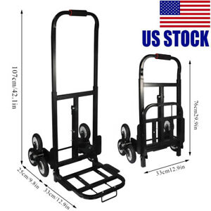 440lbs 6 Wheel Stair Climber Hand Truck Moving Dolly Cart Roll Cart Trolley