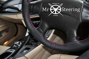 Perforated Leather Steering Wheel Cover For 92 Mercedes C140 Hot Pink Double St