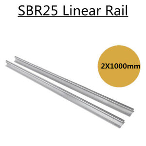 Sbr25 1000mm 25mm Fully Supported Slide Rods Rail Shaft Rod Linear Motion 2pcs