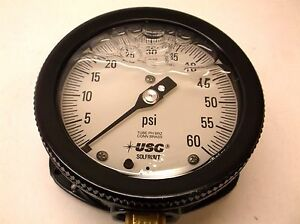 Pressure Gauge Filled 0 To 60psi 4 1 2in Dial Size New