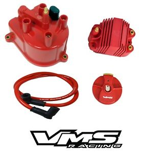 Vms Racing Red Distributor Cap Rotor 8207 External Coil For Acura Integra