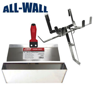 Drywall Mud Pan tape Holder Set With 12 Stainless Steel Pan And Taping Knife