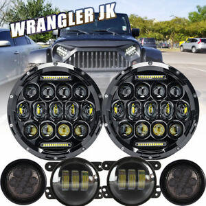 7 Led Headlight Amber Signal Turn Light 4 Fog Lamp Set For Jeep Wrangler Jk H4