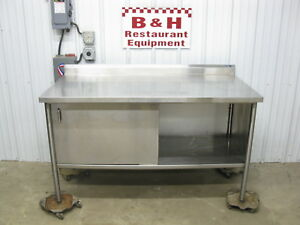 60 x30 Stainless Steel Heavy Duty 1 Door Kitchen Work Table Enclosed Cabinet 5