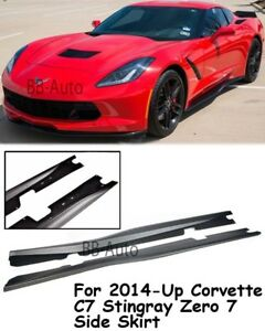 For 14 up Corvette C7 Stingray Add On Bottom Line Style Abs Plastic Side Skirts