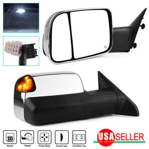 Chrome Tow Mirrors For 2009 2012 Dodge Ram Power Heated Signal Led Puddle Light