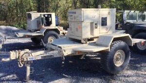 Diesel Generator Trailer With Rare Arctic Kit 50 f Only 230hrs Mep 802a