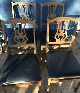 4 Vintage Stakmore Wood Back Folding Chairs Mid Century Wicker