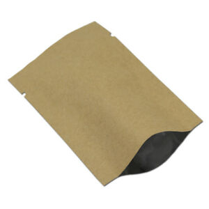 Open Top Kraft Paper Mylar Foil Bag Heat Seal Small Sample Storage Pack Pouch