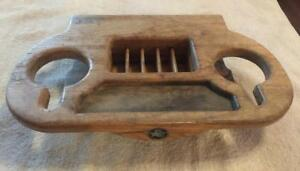 Vintage 1980s Chevy Gm Van Custom Starcraft Center Console Cover Wood Drink Tray