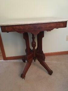 Antique Victorian Marble Top Table 28 Rectangle Buyer Must Pick Up