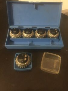 Set Of 5 Vintage Ibm Selectric Typewriter Ball Heads Font Balls Plus Case