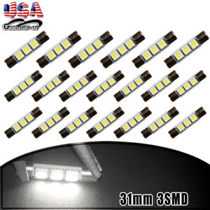 20x 30mm 31mm 5050 Led Fuse Sun Visor Vanity Mirror Light Bulbs White 6614f 6641