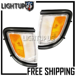 Left Right Pair Black Marker Signal Lights For 1995 1996 Toyota Tacoma 2wd