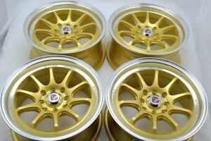 15 Gold Wheels Accord Cooper Miata Civic Cobalt Integra Yaris 4x100 4x114 3 Rims