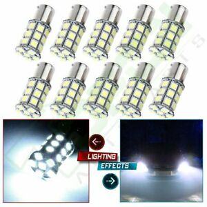 10pcs White Led 1156 Ba15s 1141 Turn Signal Backup Light Bulbs For Car Rv Tailer