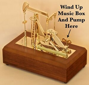 Oil Well Oilfield Gold Pump Jack Model Music Box Drill Bit Keychain Sticker Rig