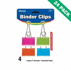 Paper Binder Clips Office Multi colored Binder Clips Large 4 Pack 24 Units