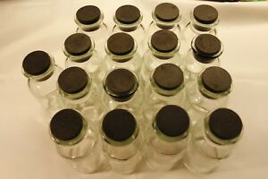 Lot Of 17 Tcw 250ml Round Glass Reagent Media Storage Bottle Rubber Stopper Lab