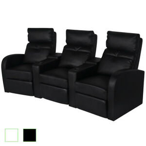 Vidaxl 3 seat Theater Recliner W Cup Holder Faux Leather Lounge White black