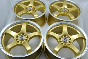 17 Gold Wheels Rims Civic Tc Element Vibe Crv Crz Forester Eclipse 5x100 5x114 3