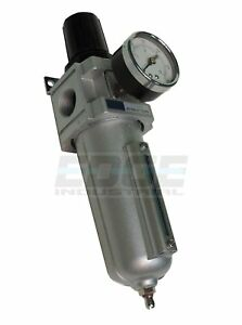 Heavy Duty Compressed Air Filter Regulator Combo Piggyback Metal Bowl 3 4 Npt