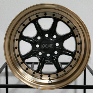 4 New 15 Xxr 002 5 Wheels 15x8 4x100 4x114 3 0 Flat Black Bronze Lip Rims