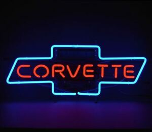 C2 C7 Corvette 1963 2014 Red Script In Blue Chevy Bowtie Neon Sign