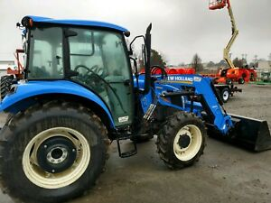 2015 New Holland T4 75 Mfwd Cab Tractor With Nh Loader Bucket
