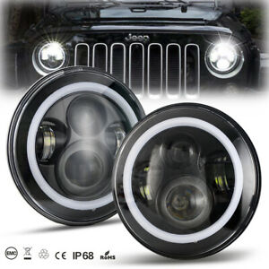 2x 7 Round Cree Led Headlights Halo Angle Eye For Jeep Wrangler Jk Jku Tj Cj Lj