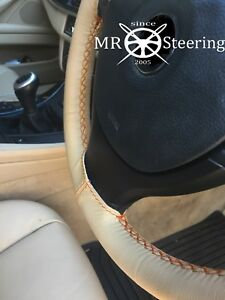 Beige Leather Steering Wheel Cover Fits Vw Golf Mk4 1997 03 Orange Double Stitch