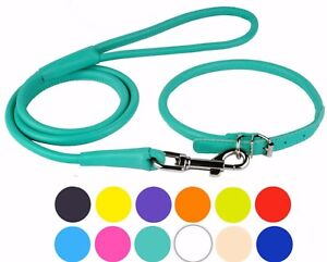 Rolled Dog Collar Leather Leash Set Soft Padded Lead for Dogs Puppy Small Large