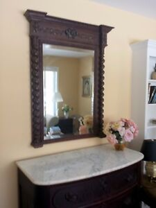 Antique Victorian Wood Beveled Mirror