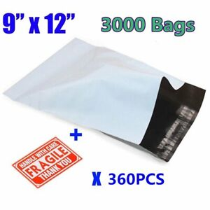 3000 9x12 Poly Mailers Envelopes Self Sealing Shipping Mailing Bags 2 5 Mil New