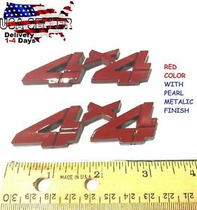 2x Pieces Red 4 X 4 Emblem Truck Trailer 4x4 Logo Sign Suv Badge Sign Ornament 1 Fits 1950 Ford