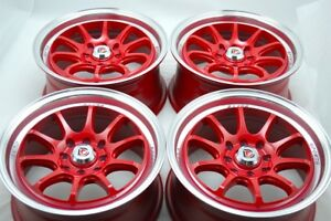 15 Red Wheels Prius C Civic Accord Integra Cooper Forenza Ion 4x100 4x114 3 Rims