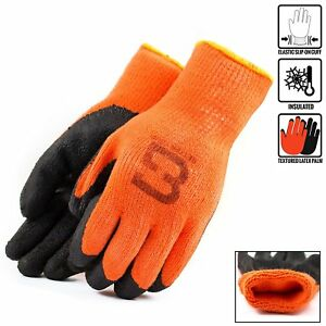 Hi vis Orange Insulated Winter Rubber coated Gloves crinkle Finished bgwlac or