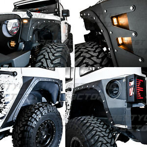 Body Armor Fender Flares Front Rear Corner Guard 6x Led 07 17 Jeep Jk Wrangler