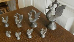 8 Antique Cast Iron Oriental Figure Scale Weights Peacocks Scarce Ones