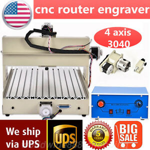 4 Axis 3040 Cnc Router Engraver 400w Engraving Milling Machine Drilling Cutter