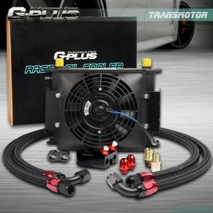 30 Row 10an Engine Transmission Oil Cooler Kit 7 Inch Electric Fan Black