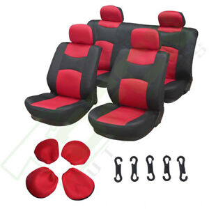 Red Black 4mm Padding Mesh Soft Car Seat Covers W Headrest Covers For Porsche