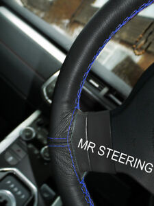 Black Leather Steering Wheel Cover For Jaguar Xke 1961 1975 R Blue Double Stitch