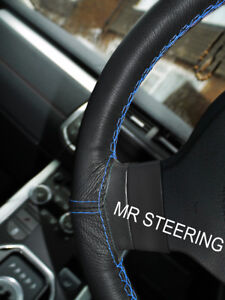 Black Leather Steering Wheel Cover For Jaguar Xke 61 75 Light Blue Double Stitch