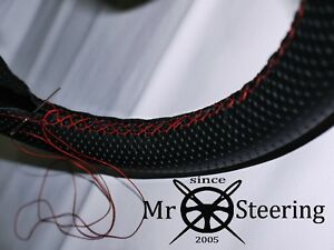Perforated Leather Steering Wheel Cover For Jaguar Xke 1961 75 Red Double Stitch
