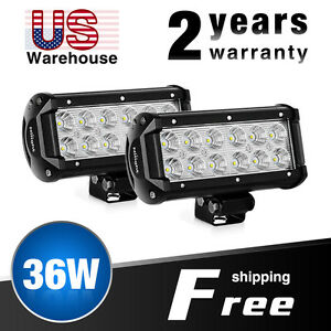 Nilight Led Light Bar 2pcs 6 5 Inch 36w Flood Off Road Lights Fit For Suv Ford 7