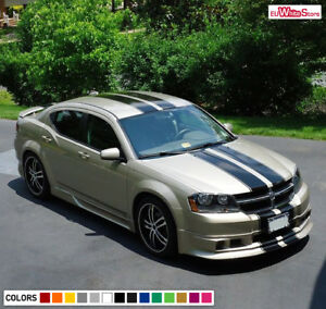 Decal Sticker Full Stripes For Dodge Avenger Racing Steering Wheel Cover Pedals